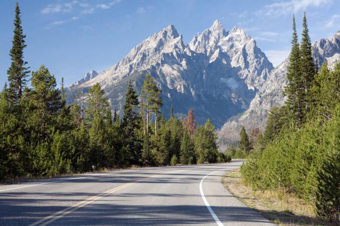 De Highway 89 naar Jackson Hole, in Wyoming. © thinkstock