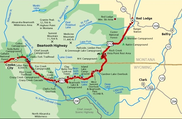 Beartooth Highway - Map